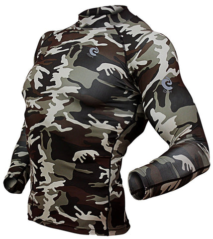 COOVY Men's Long Sleeve Lightweight Compression Base Layer Shirts (camo)