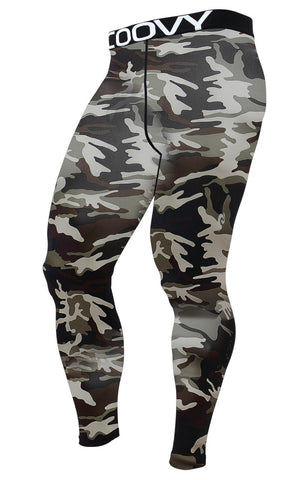 COOVY Men's Lightweight (thin fabric) Base Layer Long Pants / Tights, Camo (Style 120)
