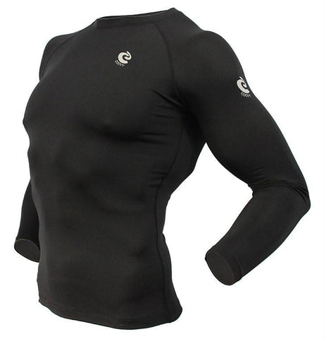 COOVY Men's Thermal Compression Base Layer Long Sleeve Crew Neck Top (black, winter)