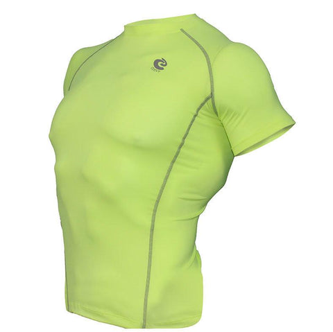 COOVY Men's Short Sleeve Lightweight Base Layer Top (bright green)