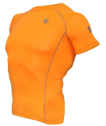 COOVY Men's Short Sleeve Lightweight Base Layer Top (bright orange)