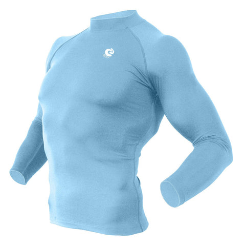 COOVY Men's Long Sleeve Lightweight Base Layer Top (Sky Blue)
