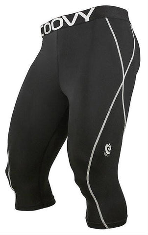 COOVY Men's Midweight Compression Base Layer 3/4 Length Pants (black)