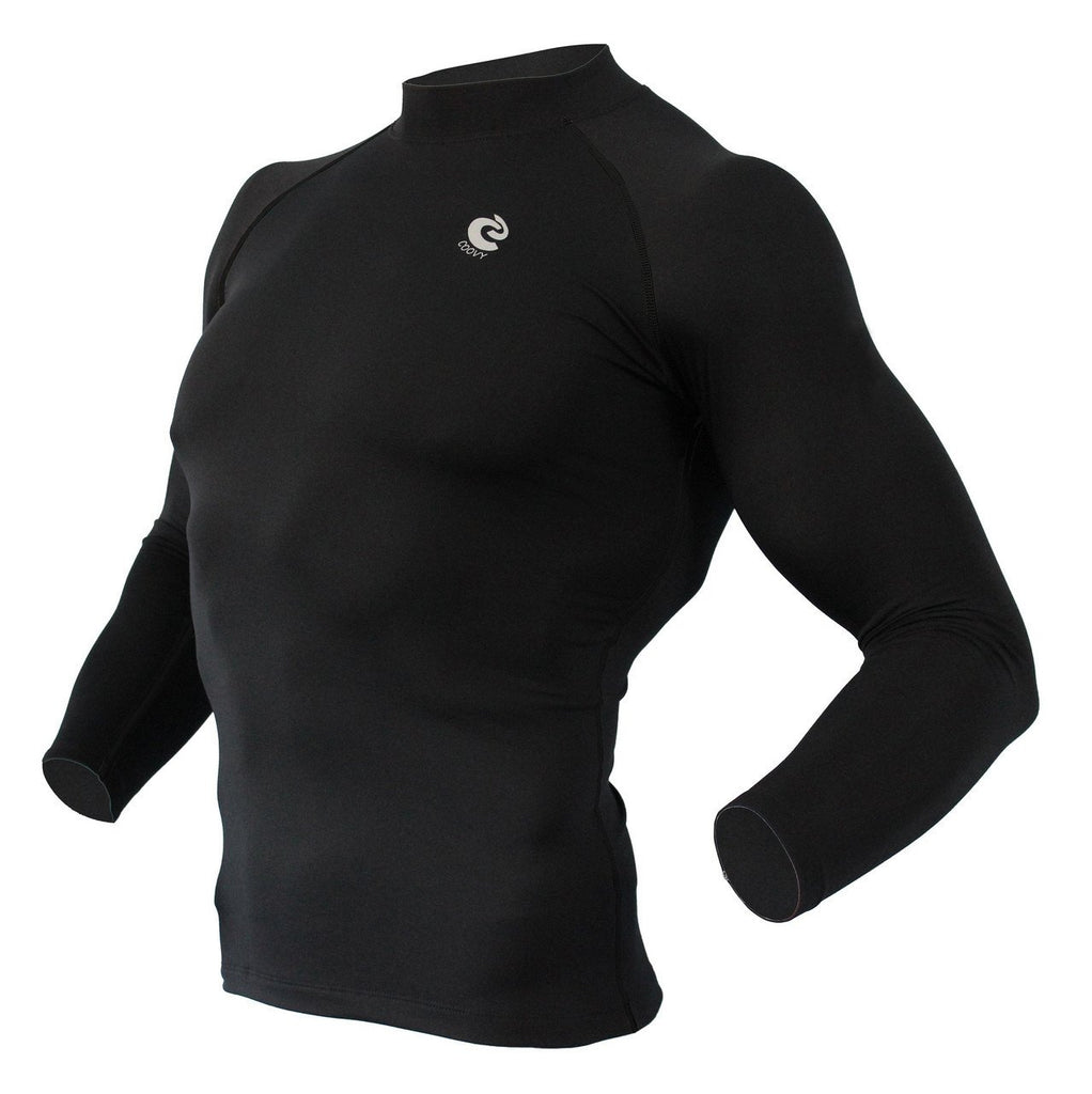 COOVY Men's Thermal Compression Base Layer Long Sleeve Mock Neck Top (solid black) style 218