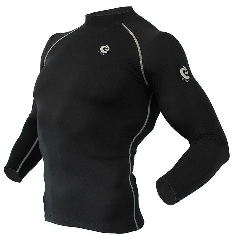 COOVY Men's Thermal Compression Base Layer Long Sleeve Mock Neck Top (black, winter)