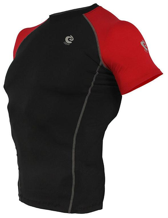 COOVY Men's Short Sleeve Lightweight Base Layer Top (black/red)