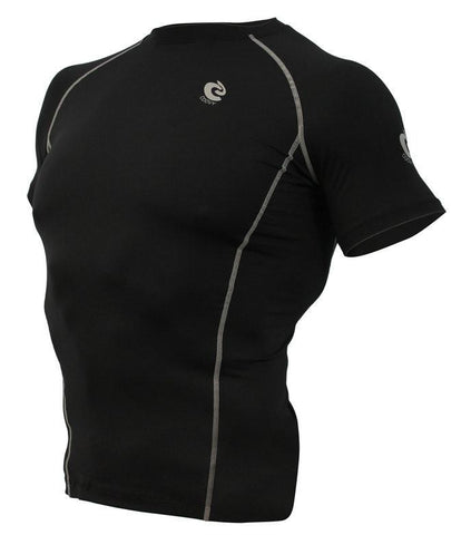 COOVY Men's Short Sleeve Lightweight Top (black, light reflective back)