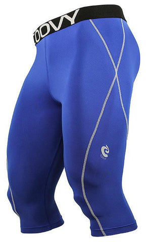 COOVY Men's Lightweight Base Layer 3/4 Length Pants (blue)