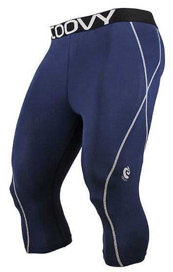 COOVY Men's Lightweight Base Layer 3/4 Length Pants (navy)