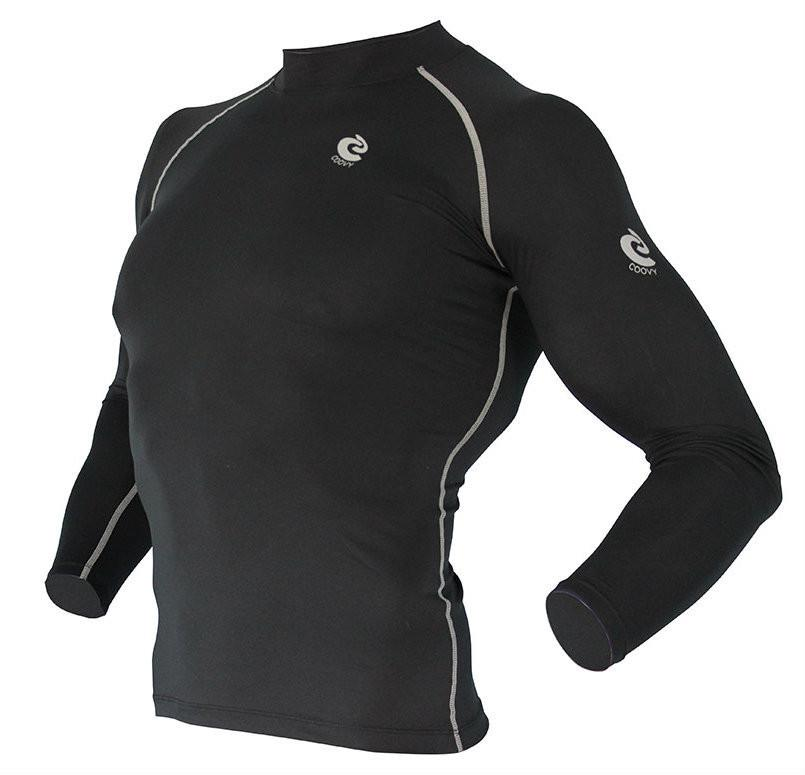 COOVY Men's Long Sleeve Lightweight Base Layer Top (black)