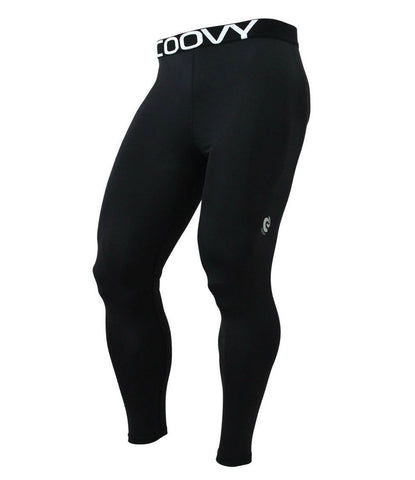 COOVY Men's Lightweight (All-Season) Base Layer Long Pants / Leggings, Solid Black (Style 161)