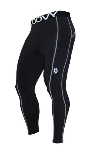 COOVY Men's Mid-Weight True-Compression Base Layer Leggings (black)