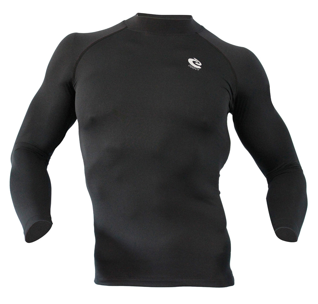 COOVY Men's Thermal Compression Base Layer Long Sleeve Mock Neck Top (dark gray) style 221