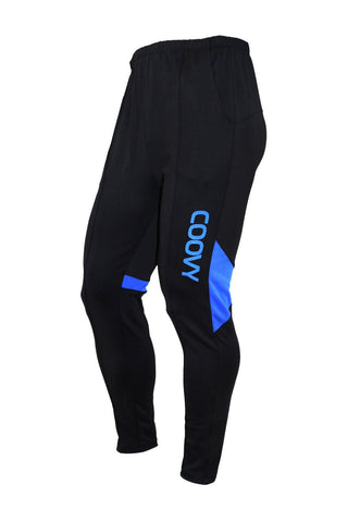 COOVY Men's Athletic Training Warm-up Active Casual Pants (black/blue)