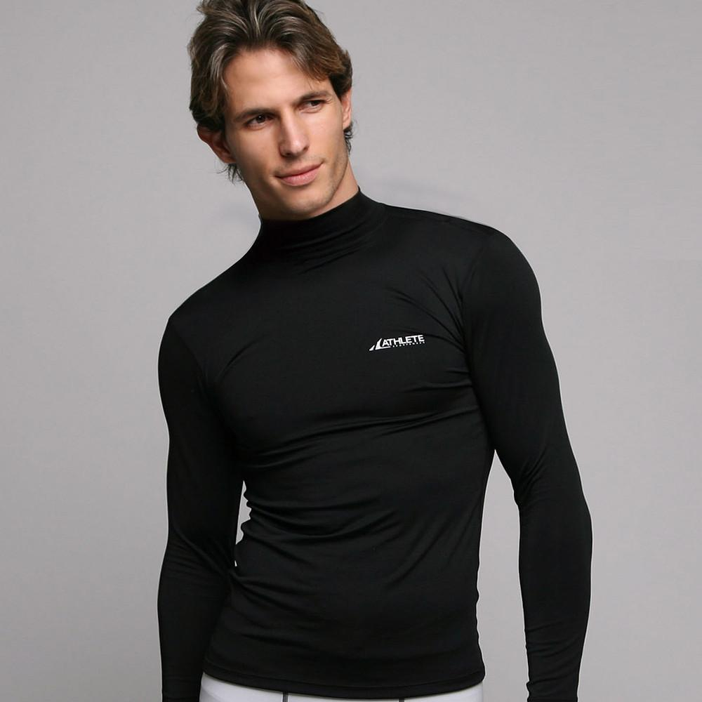 ATHLETE Men's Lightweight Compression Base Layer Long Sleeve Mock Neck Shirt, Style B05 - Athlete Beyond - Men - Top - 1
