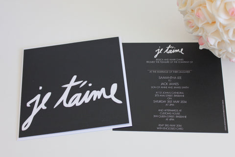 I Love You in French Black Square Elegant Wedding Invitations Personalised Modern Typography 145x145mm