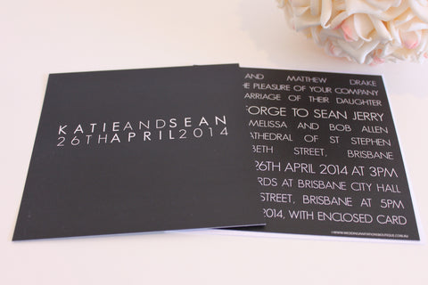 Justify My Love Black Square Elegant Wedding Invitations Personalised Modern Typography 145x145mm
