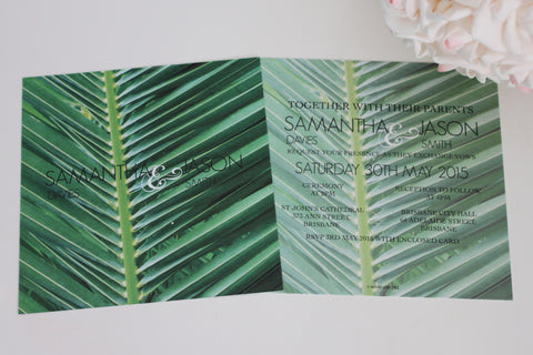 A Tropical Paradise Square Elegant Wedding Invitations Personalised Modern Typography 145x145mm