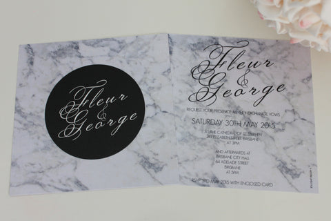 Amazing Marble Square Elegant Wedding Invitations Personalised Modern Typography 145x145mm