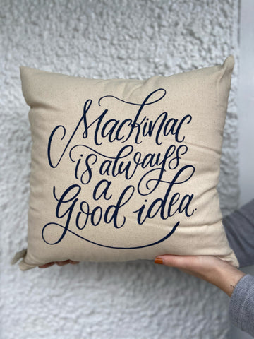 Pillow Mackinac Is Always A Good Idea Navy On Natural 16x16