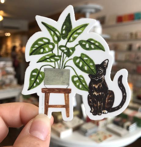 Plant and Cat Sticker No. 5