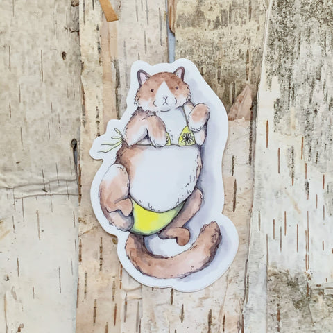 Cat in a Bikini Wilderness Sticker