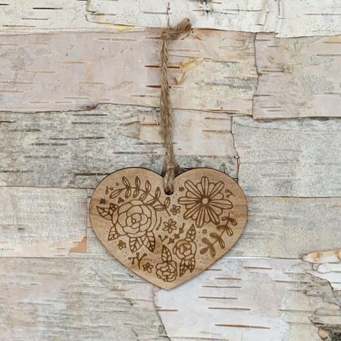 Floral Heart Wood Ornament