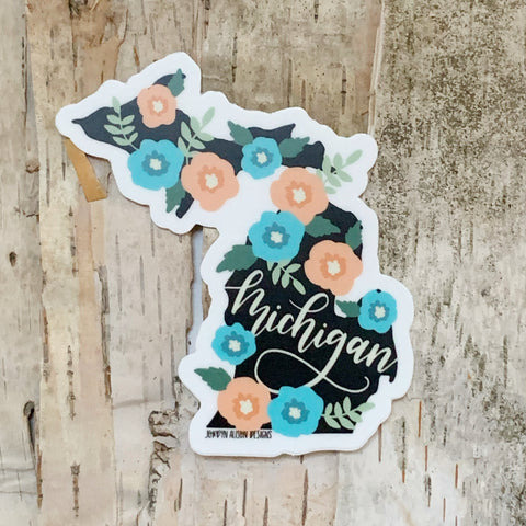 Michigan Floral (Script) Sticker