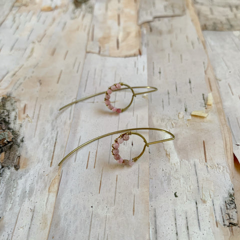 Rhodochrosite Small Hoop Drop Earring