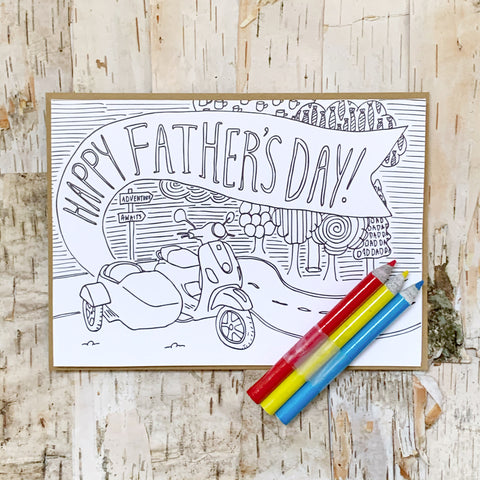 Vespa Father's Day Coloring Card