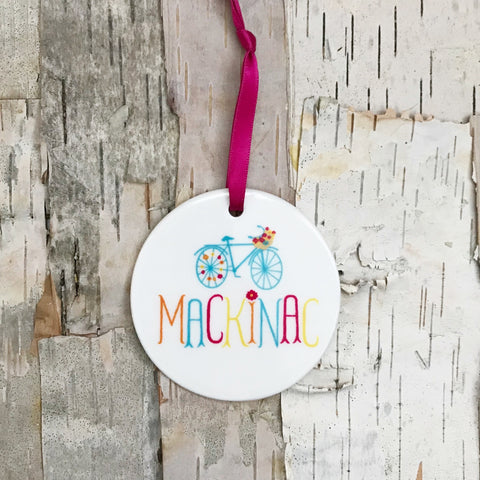 Mackinac Flower Bike Ornament