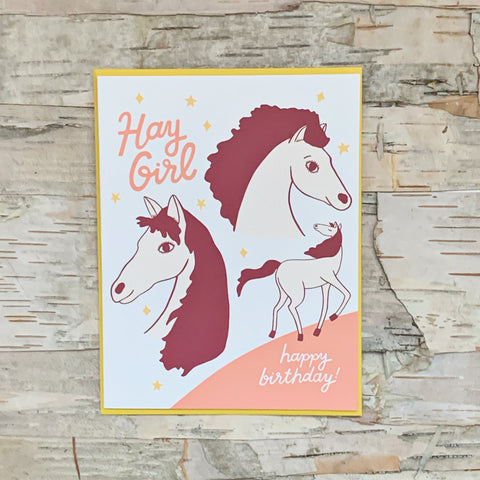 Hay Girl Birthday Card