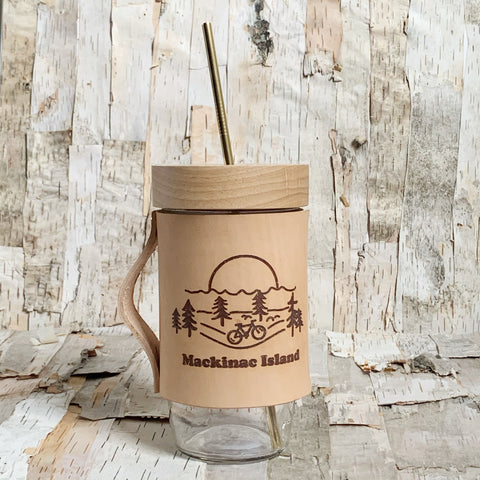 Mackinac Island Scene Leather Wrapped Mason Jar