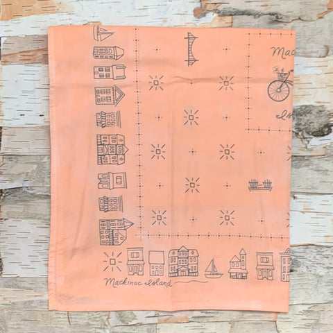 Mackinac Main Street Peach/Pink/ Orange Bandana