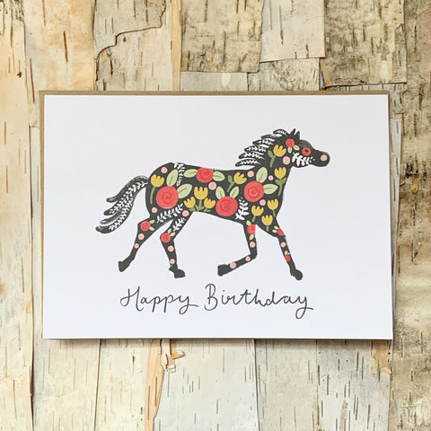 Chico Floral Birthday Horse Card