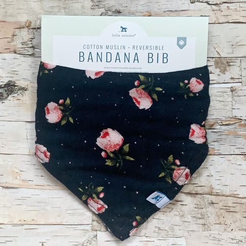 Midnight Rose Reversible Bandana Bib