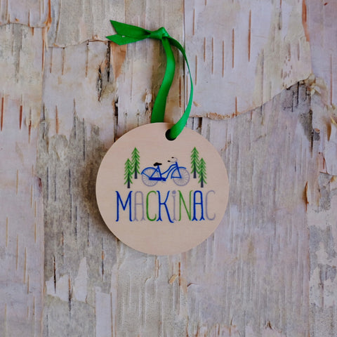 Mackinac Pine Cruiser With Trees Wood Ornament
