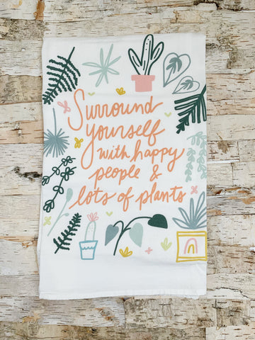 Happy People and Lots Of Plants Tea Towel