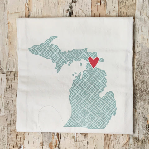 Michigan Shape With Blue Lattice Towel