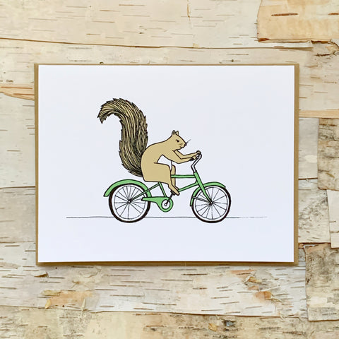 Squirrel On Bike Greeting Card