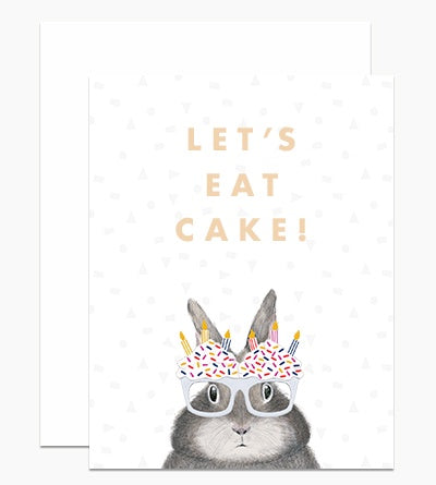 Let's Eat Cake Bunny With Glasses Card
