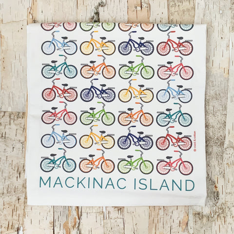 Mackinac Island Word and Bicycles Tea Towel