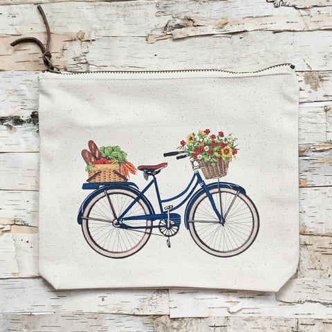 Farmers Market Bike Canvas Pouch