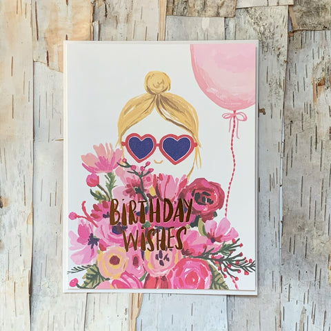 Heart Shaped Glasses Birthday Card