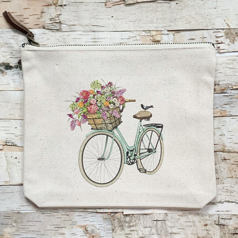Spring Bike Canvas Pouch