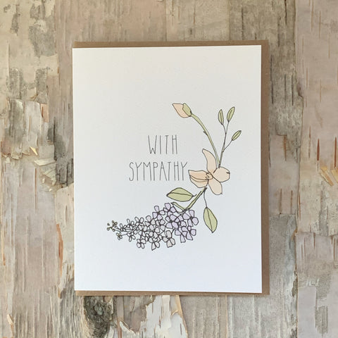 With Sympathy Lilacs Card