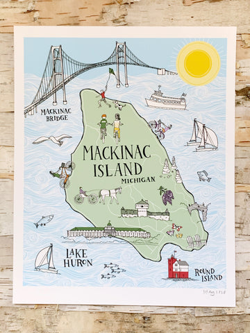 Mackinac Island Illustrated Map Sloe Gin Fizz Print