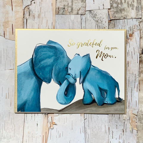 Grateful For Mom Elephant Card