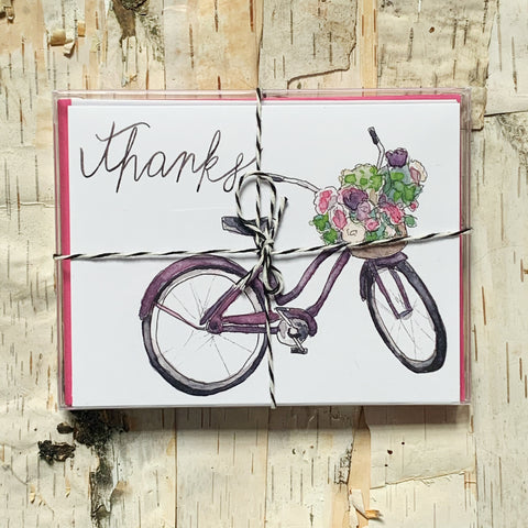 Thanks Purple Bike Set of 6