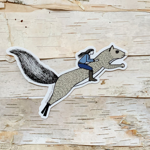 Girl Riding Squirrel Vinyl Sticker